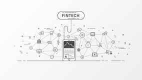 Fintech and Blockchain technology info graphic. Thin line art style design for web banner, business startup, commercial, poster design and advertising. Vector Stock Image