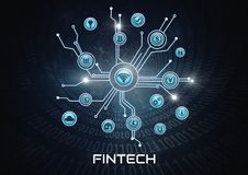 Fintech Business icons connected. Digital composite of Fintech Business icons connected Stock Photos