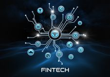 Fintech business icons connected. Digital composite of Fintech business icons connected Stock Images