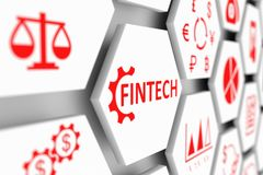 FINTECH concept. Cell blurred background 3d illustration Royalty Free Stock Photos