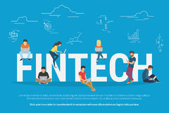 Fintech concept illustration. Fintech concept vector illustration of young people using laptop and smartphone for online funding and making investments for Royalty Free Stock Photo