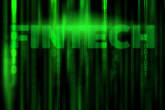 FINTECH in data binary code matrix background. Green color stock image