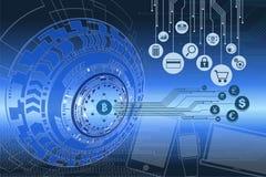 Fintech e gráfico digital do dinheiro Foto de Stock