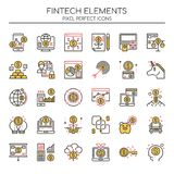 Fintech Elements. Thin Line and Pixel Perfect Icons Royalty Free Stock Photography