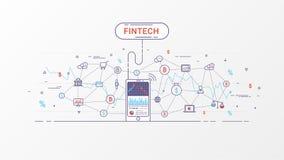 Fintech en Blockchain-grafische technologieinformatie stock illustratie