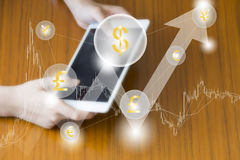 Fintech finance technology business tablet computer web concept. Money cogwheel icon with cloud currency dollar eur bitcoin. Trade Stock Photo