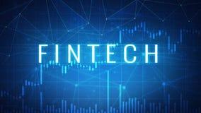 Fintech financiële technologie op futuristische hudbanner Stock Fotografie
