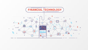 Fintech - Financial technology and Business investment. Financial exchange and Trading design concept. Investment finance info graphic. Vector illustration Royalty Free Stock Image