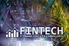 Fintech - Financial technology. Business solution and software development. Financial technology Royalty Free Stock Images