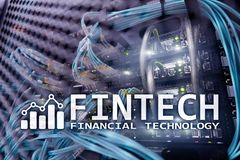 Fintech - Financial technology. Business solution and software development royalty free stock images