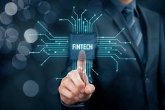 Fintech and financial technology. Fintech financial technology concept. Business person click on fintech illustration with PCB design stock image