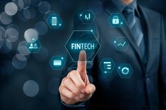 Fintech and financial technology Stock Image