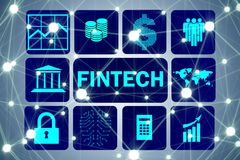 The fintech in financial technology concept. Fintech in financial technology concept Stock Photography