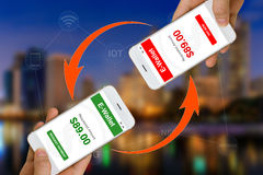Fintech or Financial Technology Concept Illustrated by Using Smartphone and E-Wallet App to Make Payment or Transfer Money. Concept of Fintech or financial royalty free stock photos