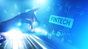 Fintech Financial technology Cryptocurrency investment and digital money. Business concept on virtual screen. Fintech Financial technology Cryptocurrency royalty free stock images