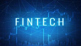 Fintech financial technology on futuristic hud banner. Fintech financial technology wording on futuristic hud background with cryptocurrency stock market chart Stock Photography