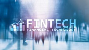 FINTECH - Financial technology, global business and information Internet communication technology. Skyscrapers stock image