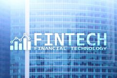 FINTECH - Financial technology, global business and information Internet communication technology. Skyscrapers background. Hi-tech business concept Stock Image