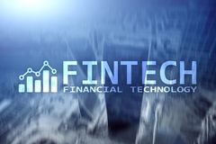 FINTECH - Financial technology, global business and information Internet communication technology. Skyscrapers background. Hi-tech. Business concept royalty free illustration