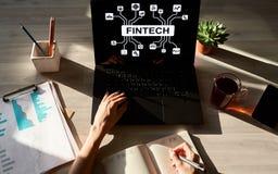 FIntech - finansiell teknologi, internetbetalning och digitalt pengarbegrepp arkivfoto