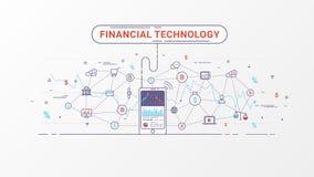 Fintech - finansiell teknologi och affärsinvestering Begrepp för finansiell utbyte och handeldesign royaltyfri illustrationer