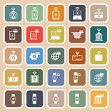 Fintech flat icons on brown background Stock Photo