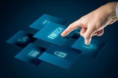 Fintech i pieniężny technologii pojęcie zdjęcia stock