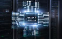 Fintech icon on abstract financial technology background. Cpu icon on server room data center blurred background.