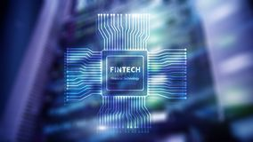 Fintech icon on abstract financial technology background. Cpu icon on server room data center blurred background royalty free illustration