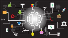 Fintech Icons Around A Globe On Black Background. 22 Fintech Icons Around A Shining Line Globe With Black Background And Multiple Currencies, Rupee,  Euro Stock Photos