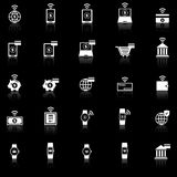 Fintech icons with reflect on black background Royalty Free Stock Image