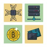 Fintech icons set. Vector illustration graphic design Stock Images