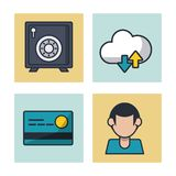 Fintech icons set. Vector illustration graphic design Stock Image