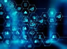 Fintech-Ikone auf abstraktem Finanztechnologiehintergrund Lizenzfreies Stockfoto