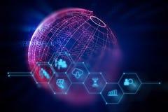 Fintech-Ikone auf abstraktem Finanztechnologiehintergrund Lizenzfreies Stockbild