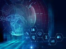 Fintech-Ikone auf abstraktem Finanztechnologiehintergrund Lizenzfreie Stockfotos