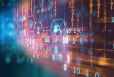 Fintech-Ikone auf abstraktem Finanztechnologiehintergrund Stockbilder
