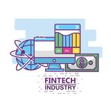 Fintech industry design. Icon set of fintech industry technology and money theme Vector illustration Royalty Free Stock Photos