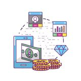 Fintech industry design. Icon set of fintech industry technology and money theme Vector illustration Royalty Free Stock Image