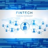 Fintech Investment Financial Internet Technology Concept. Fin tech Internet Concept. text and Investment Financial Technology icons with global background Royalty Free Stock Images