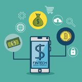 Fintech Investment Financial Internet Technology Concept fintech. Industry vector illustration graphic design Royalty Free Stock Photo