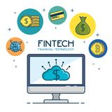 Fintech Investment Financial Internet Technology Concept fintech. Industry vector illustration graphic design Royalty Free Stock Images