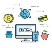 Fintech Investment Financial Internet Technology Concept fintech. Industry vector illustration graphic design Royalty Free Stock Image