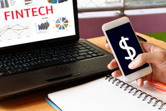 Fintech Investment Financial Internet Technology Concept. Man ho Stock Photos