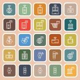 Fintech line flat icons on orange background Stock Photo