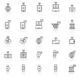 Fintech line icons with reflect on white background Royalty Free Stock Photos