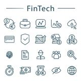 Fintech line icons set. Vector illustration for online banking. Blockchain, bitcoin, fingertip, global, card, bank notes icons included. Financial technology Stock Photography
