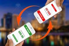 Fintech ou concept financier de technologie illustré à l'aide de Sma Photos libres de droits