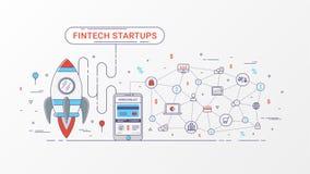Fintech rozpoczęcie infographic Pieniężna technologia i nowa biznesowa inwestycja z blockchain technologią Fotografia Royalty Free