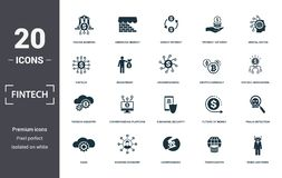 Fintech set icons collection. Includes simple elements such as Online Banking, Emerging Market, Direct Payment, Digital Native,